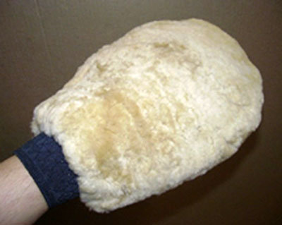 Sheepskin grooming washmitt camel