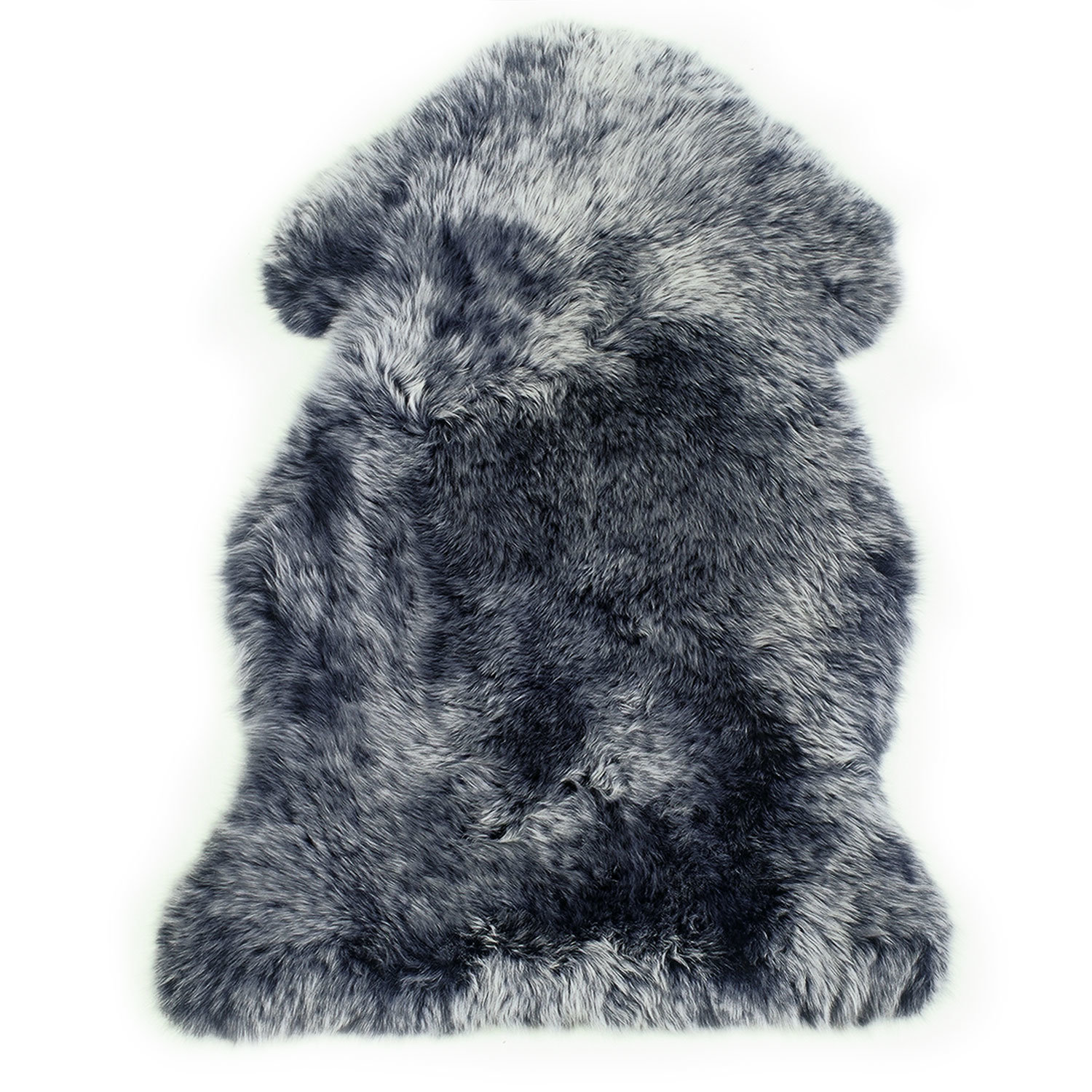 Sheepskin Rug Single Pelt Navy and Silver Tips