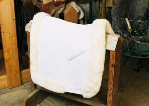 Dressage Saddle Blanket with Complete Lining & Full Roll Edge White