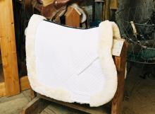 All Purpose Saddle Blanket with Complete Lining & Full Roll Edge White