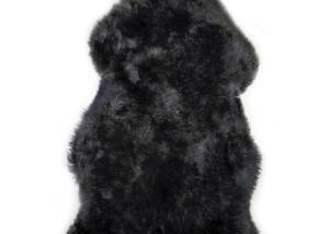 Sheepskin Rug Single Pelt Pewter with Black Tips