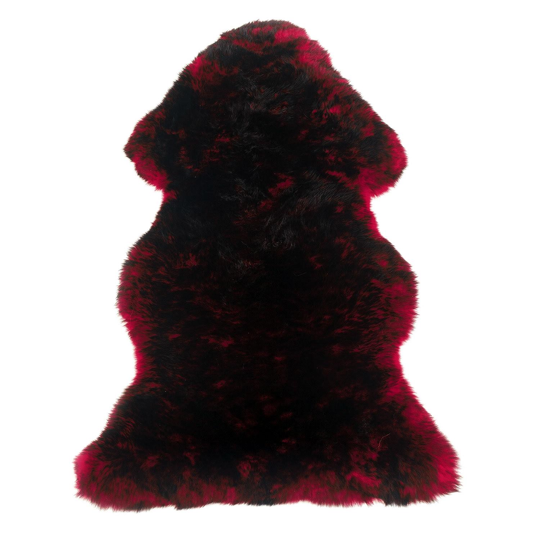 Sheepskin Rug Single Pelt Red with Black Tips