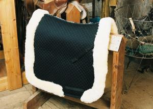Dressage Saddle Blanket with Complete Lining & Full Roll Edge Black