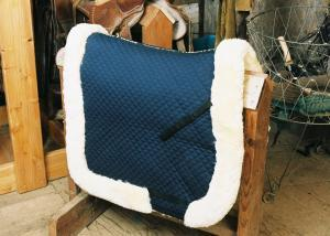 Dressage Saddle Blanket with Complete Lining & Full Roll Edge Blue