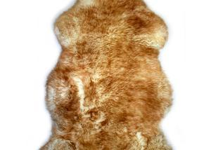 Sheepskin Rug Single Pelt White with Brown Tips