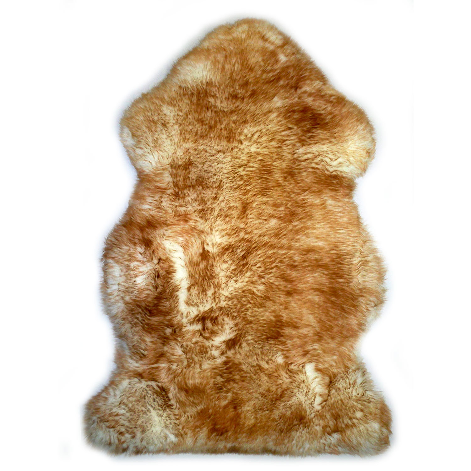 Sheepskin Rug Single Pelt White with Brown Tips